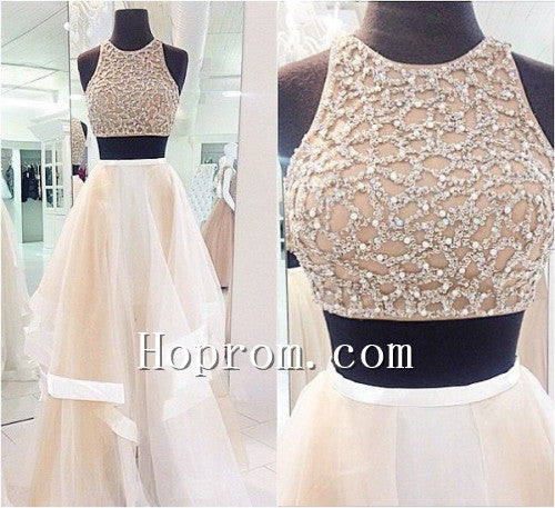 2020 Two Piece Beaded A-Line Prom Dress Evening Dresses