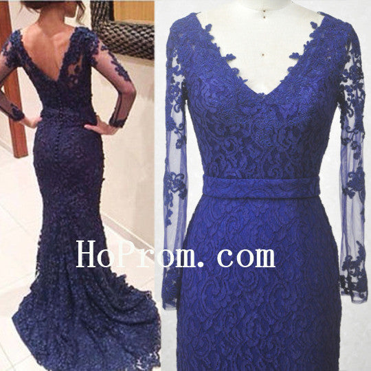 Blue Mermaid Prom Dresses,Lace Long Prom Dress,Evening Dress