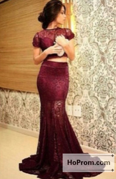 Short Sleeve Burgundy Lace Mermaid Prom Dresses Evening Dress