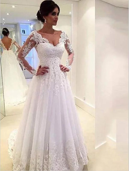 Lace Tulle V-neck Long Sleeves Train Wedding Dresses Ball Gown