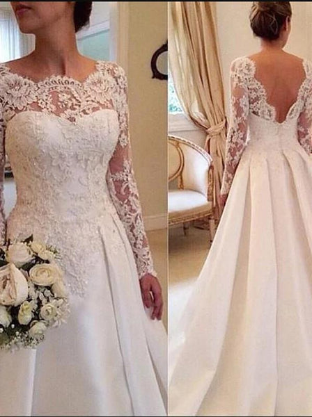 Lace Long Sleeves Train Satin Wedding Dresses Ball Gown