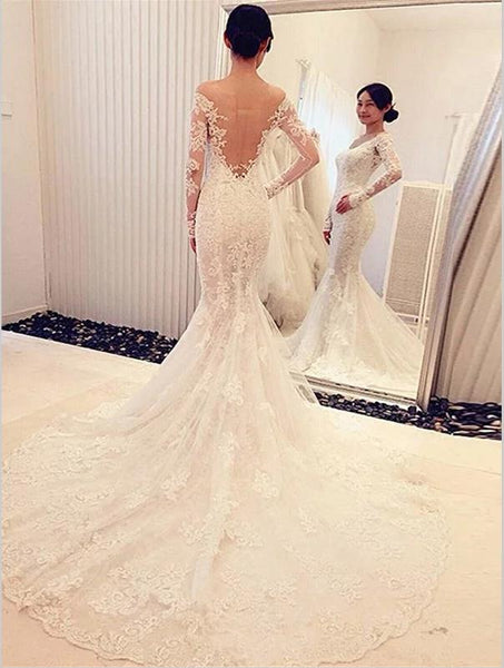 Mermaid Lace Long Sleeves Backless Wedding Dresses,Off Shoulder Train Wedding Dresses
