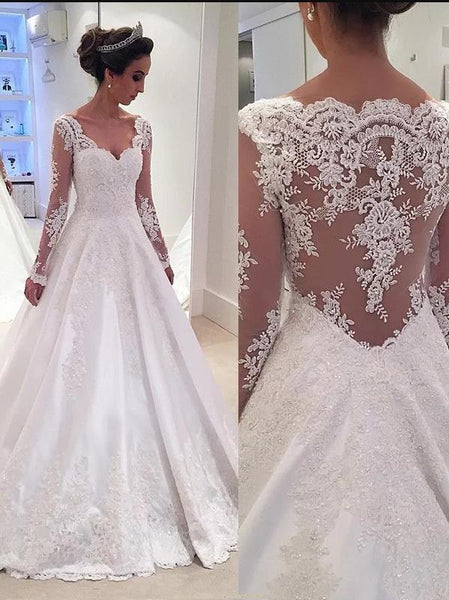 Lace V-neck Long Sleeves Wedding Dresses,Court Train Satin Wedding Dresses Ball Gown