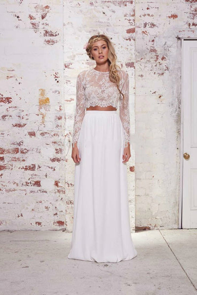 Two Piece Prom Dresses,White Lace Prom Dress,Evening Dress