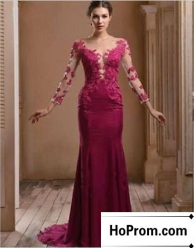 Long Sleeve Lace Satin Long Prom Dresses Evening Dress