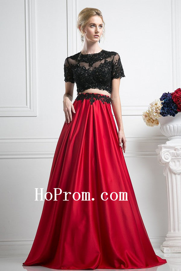 Black Short Sleeve Prom Dresses,Red Satin Prom Dress,Evening Dress