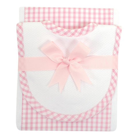 Check Bib and Burp Cloth Set