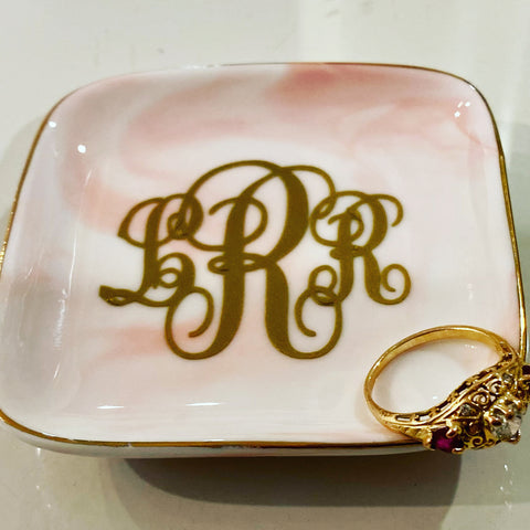 Pink Washed Ceramic Ring Tray
