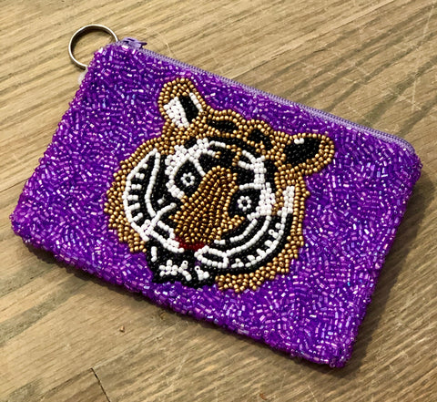 LSU Tigers Beaded Coin Purse