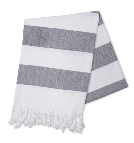 Large Striped Grey Turkish Towel