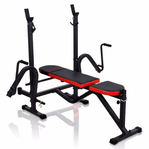 Adjustable Bench With Racks and Butterfly Machine