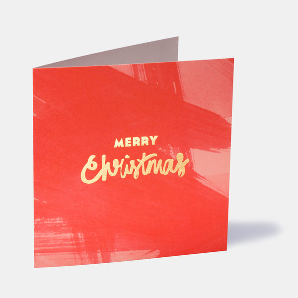 Merry Christmas Paint Greeting Card - Red