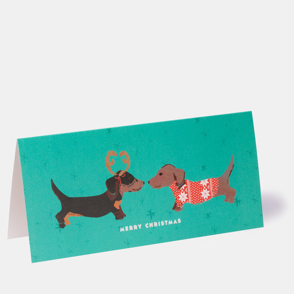Merry Christmas Puppy Greeting Card - Green