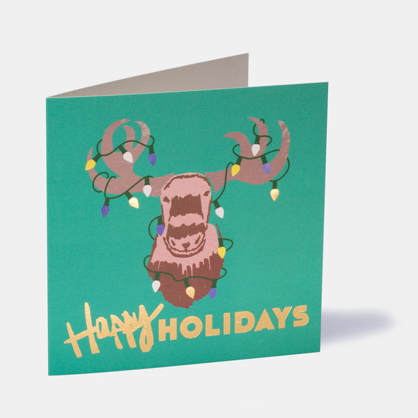 Happy Holidays Moose Greeting Card