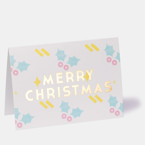 Merry Christmas Holly Greeting Card