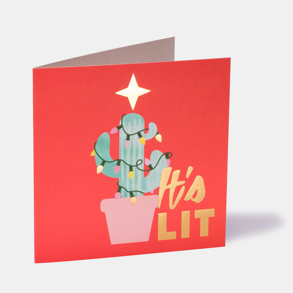 Christmas It's Lit Cactus Greeting Card