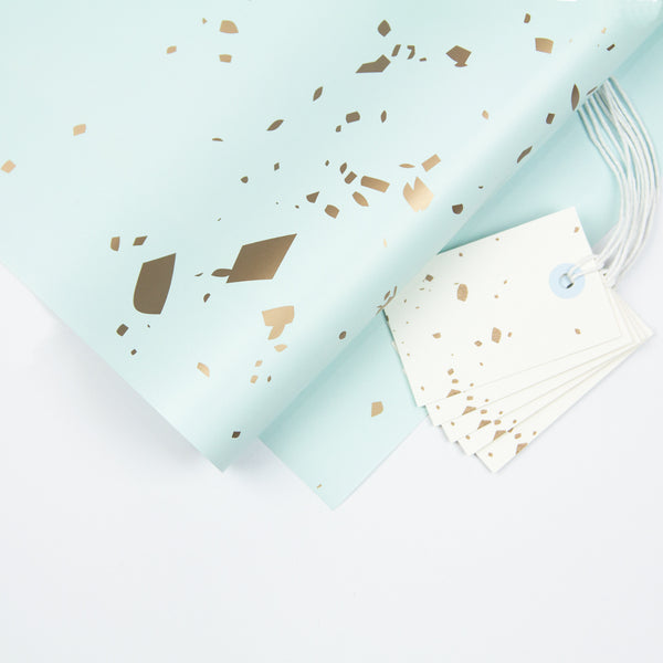Blue Confetti Wrapping Paper Pack + Gift Tags