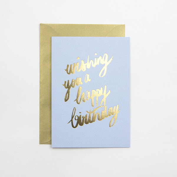 Azure Blue Wishing You A Happy Birthday Card