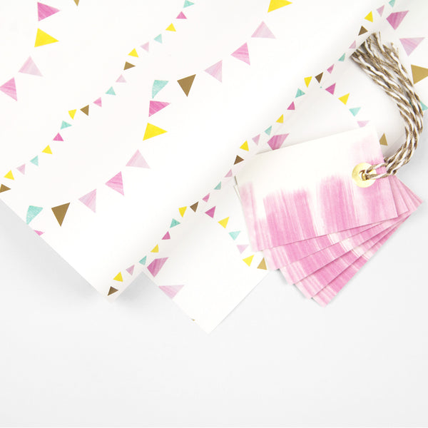 Bunting Wrapping Paper Pack + Gift Tags