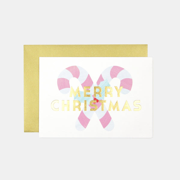 Merry Christmas Candy Canes Greeting Card