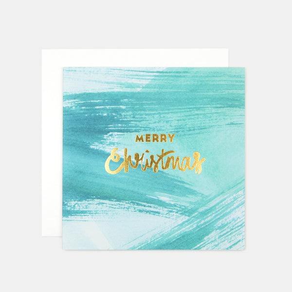 Merry Christmas Paint Greeting Card - Green