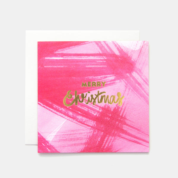Merry Christmas Paint Greeting Card - Pink