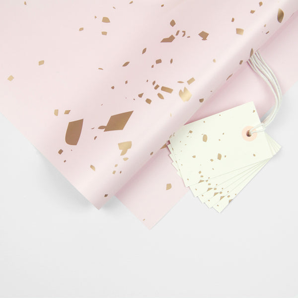 Pink Confetti Wrapping Paper Pack + Gift Tags