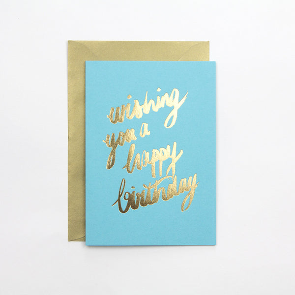 Turquoise Wishing You A Happy Birthday Card