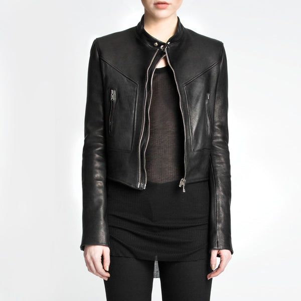 The Grace leather jacket by the namesake designer Rosa Halpern.