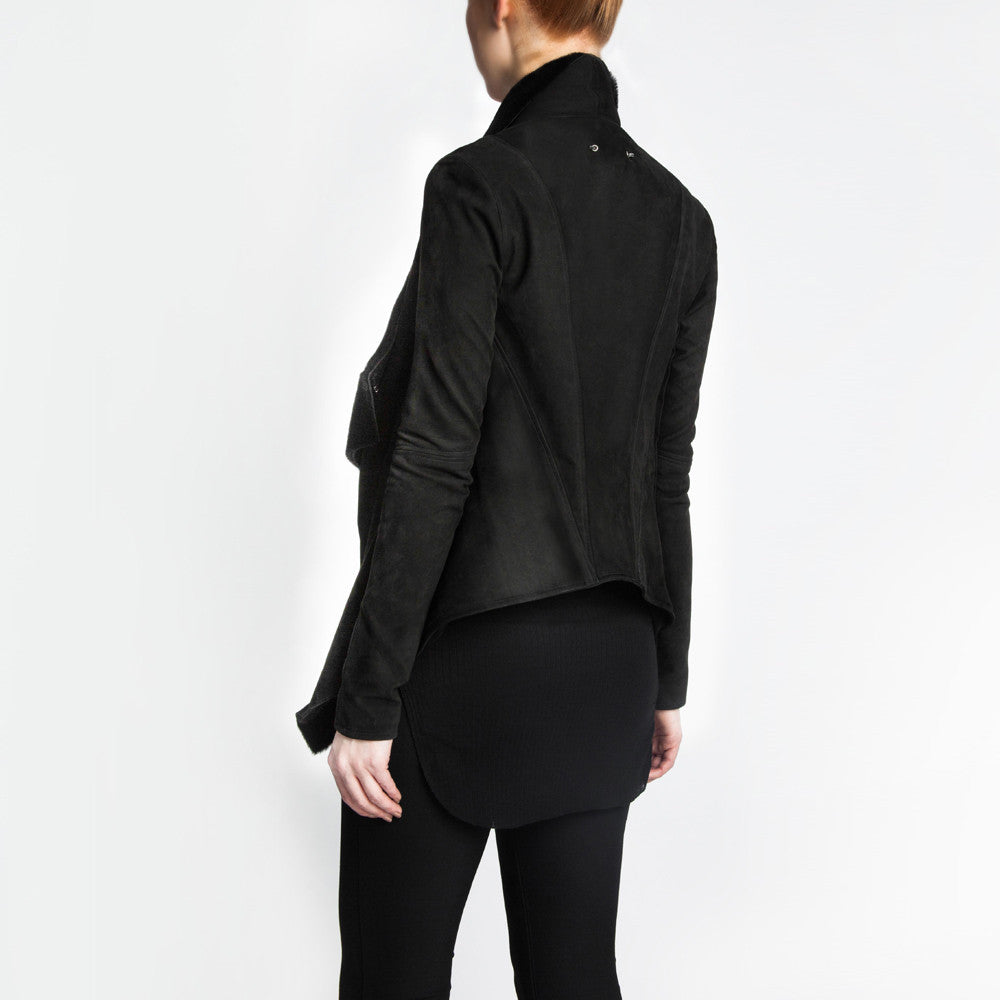 The Isadora leather jacket with Merino Sheepskin by the namesake designer Rosa Halpern.