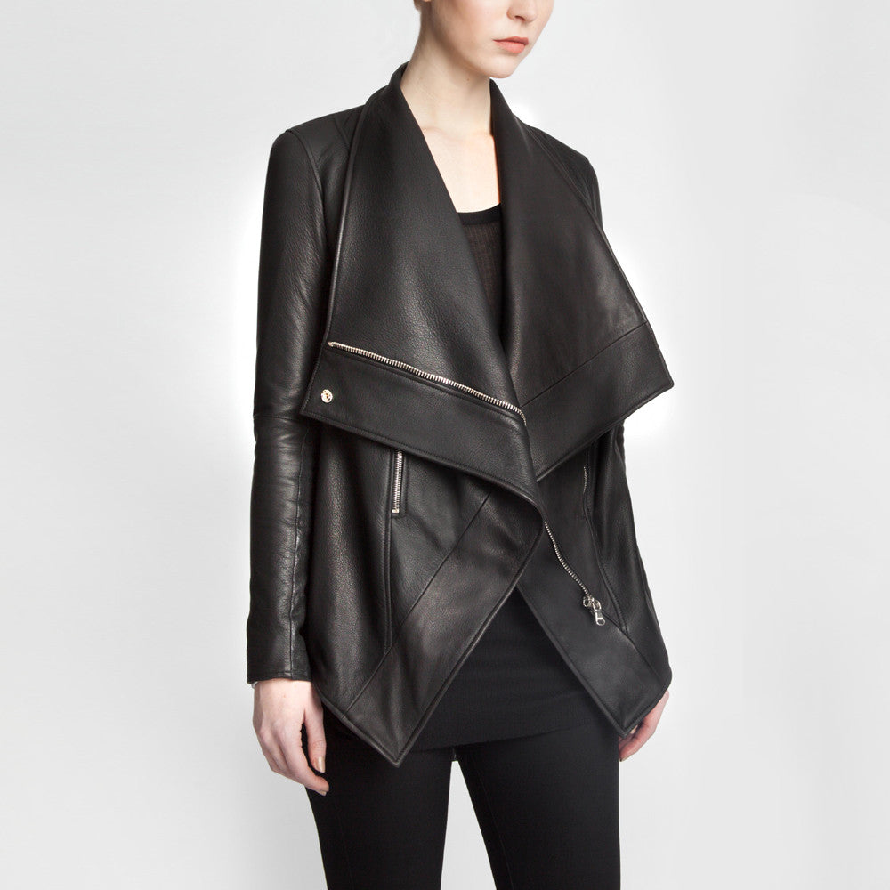 The Isadora leather jacket by the namesake designer Rosa Halpern.