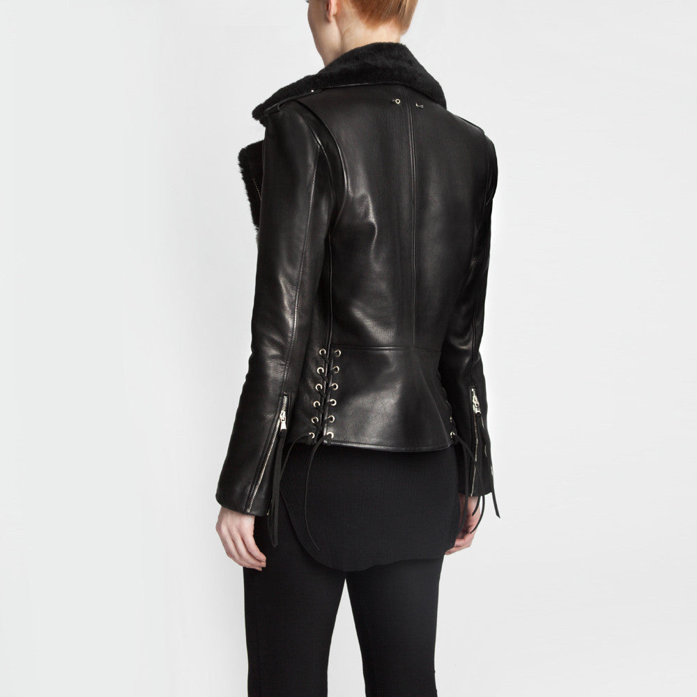The Yoko leather jacket with Merino Sheepskin by the namesake designer Rosa Halpern.