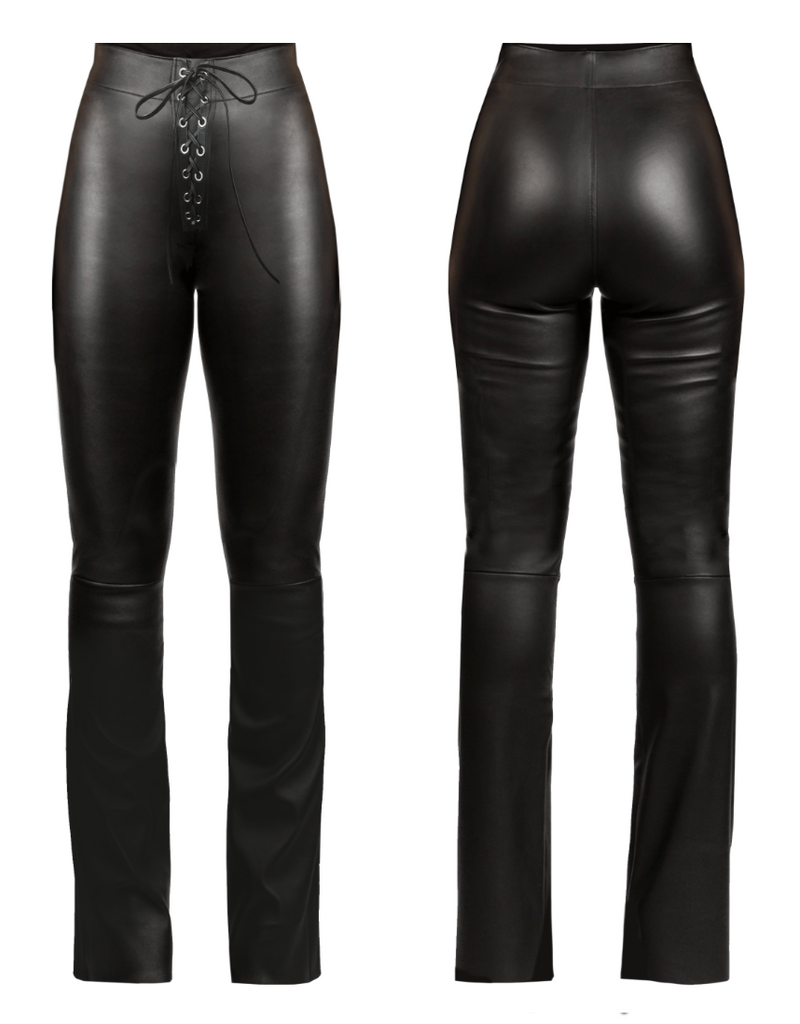 Front Lace, Long-Flare Leather Pant