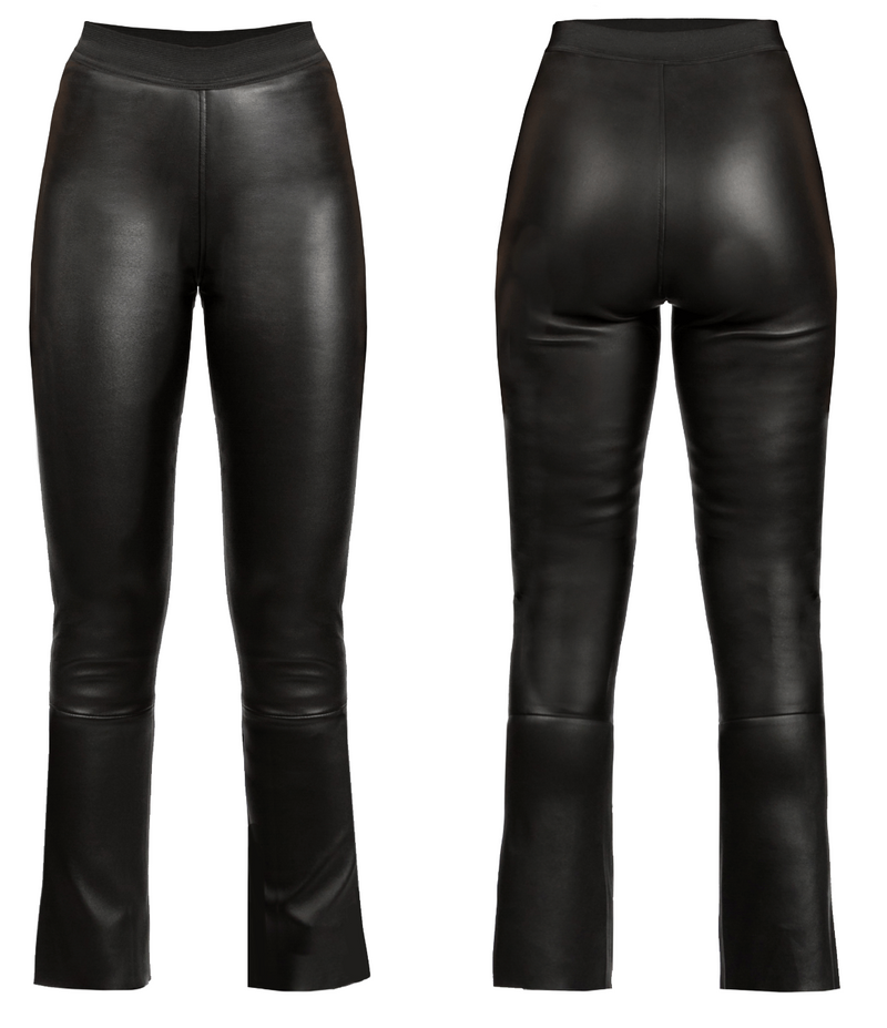 Elastic Waist Leather Pant