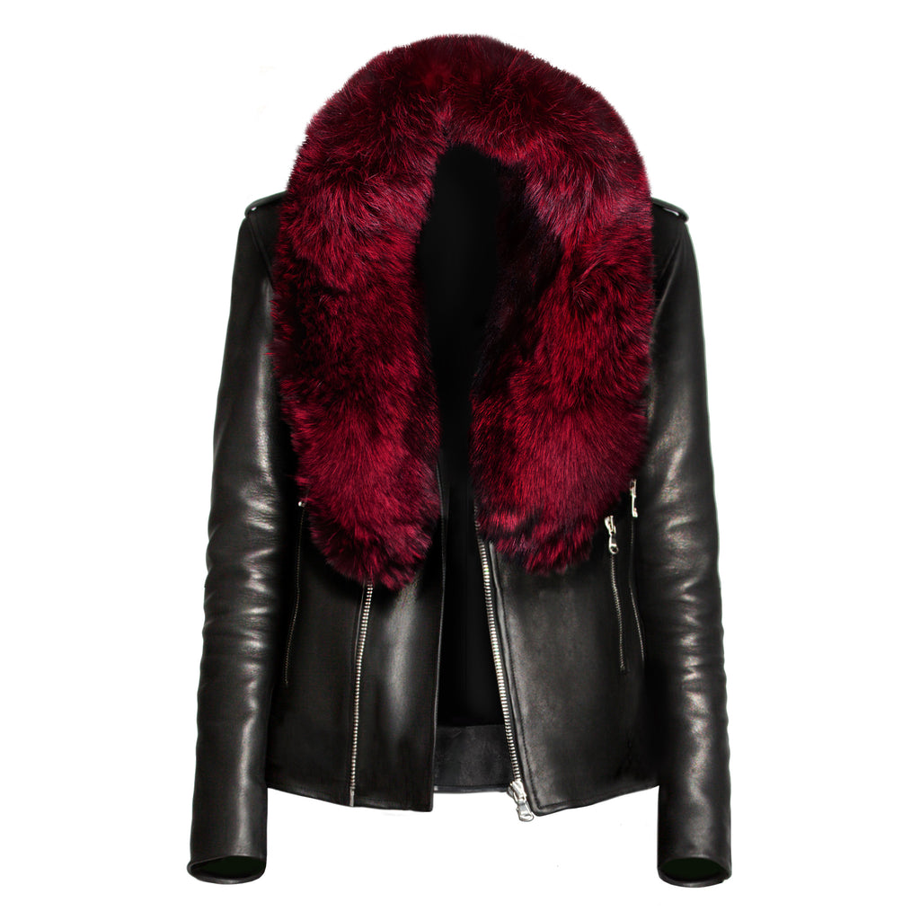 Crimson Fox Fur Collar