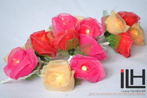 Sweet Pink Tone Colour Rose String Lights