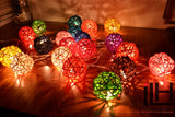 Multi Colours Rattan Ball String Lights