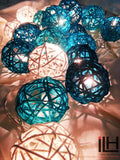 Blue Tone Colours Rattan Ball String Lights