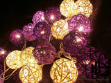 Purple Tone Colours Rattan Ball String Lights