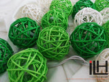 Green Tone Colours Rattan Ball String Lights