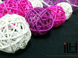 Redviolet Tone Colours Rattan Ball String Lights
