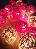 Pink Tone Colours Rattan Ball String Lights