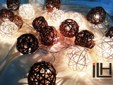 White and Brown Colours Rattan Ball String Lights