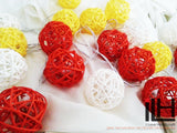 Red Yellow and White Colours Rattan Ball String Lights