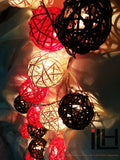 Black Red and White Colours Rattan Ball String Lights