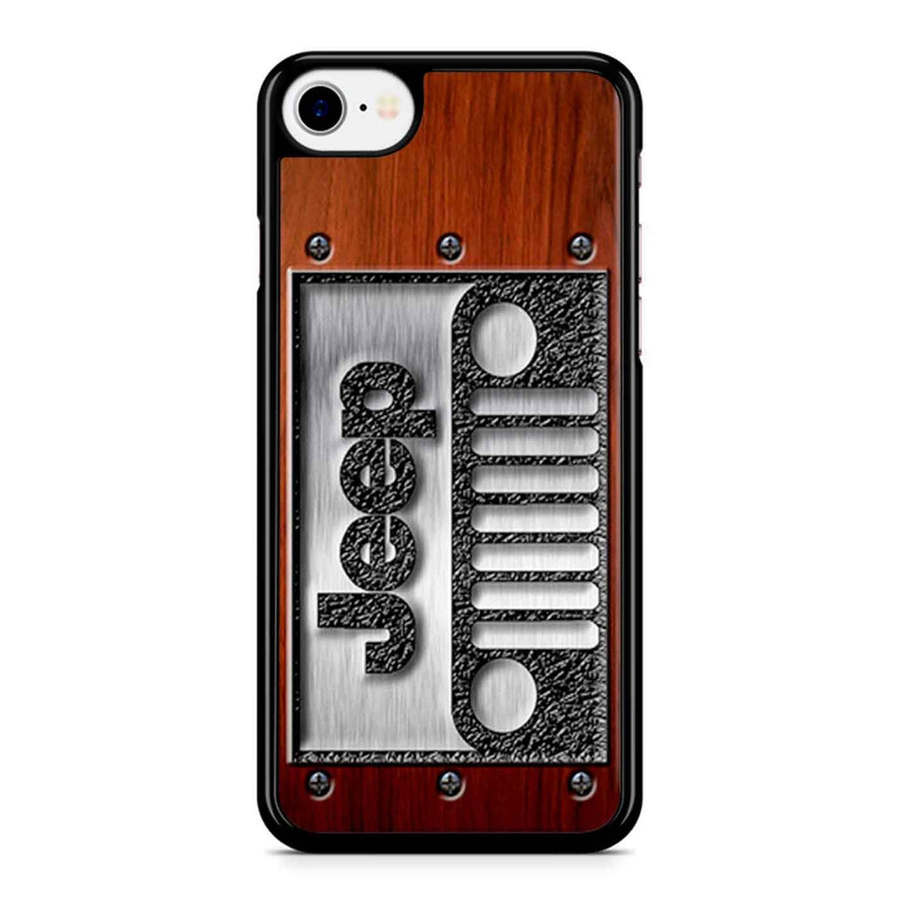 Embossed Steel Jeep Logo On Wood iPhone 8 Case
