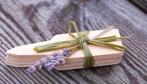Wooden Garden Markers Set of 7 Wood Plant Tags with Dried Lavender