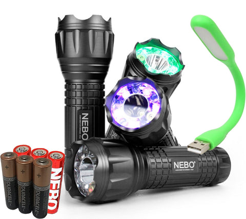 AOR Flashlights Nebo CSI Quatro 5561 6 Modes + 4 Features + 4 Colors = 1 Powerful Flashlight - Free AOR USB Book Lamp