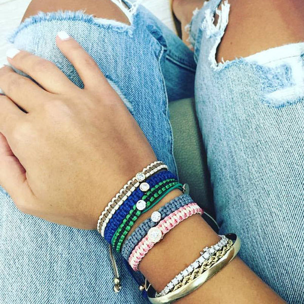 colorful diamond bracelets, pink, green, blue, grey, beige
