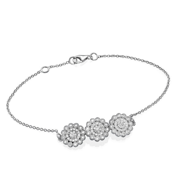 Diamonds and White Gold Flower Bracelet